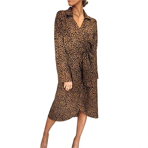 5b564bf3e15f 2019!New!Hot!Fashion Week!Womens Leopard Print V Neck Bandage Long Short  Sleeve Tie Waist Long Dress at Amazon Women's Clothing store: