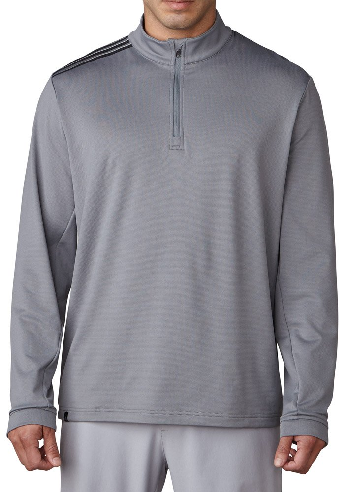 adidas Golf Men's Adi 3-Stripes Classic 1/4 Zip Jacket, Vista Grey, Large