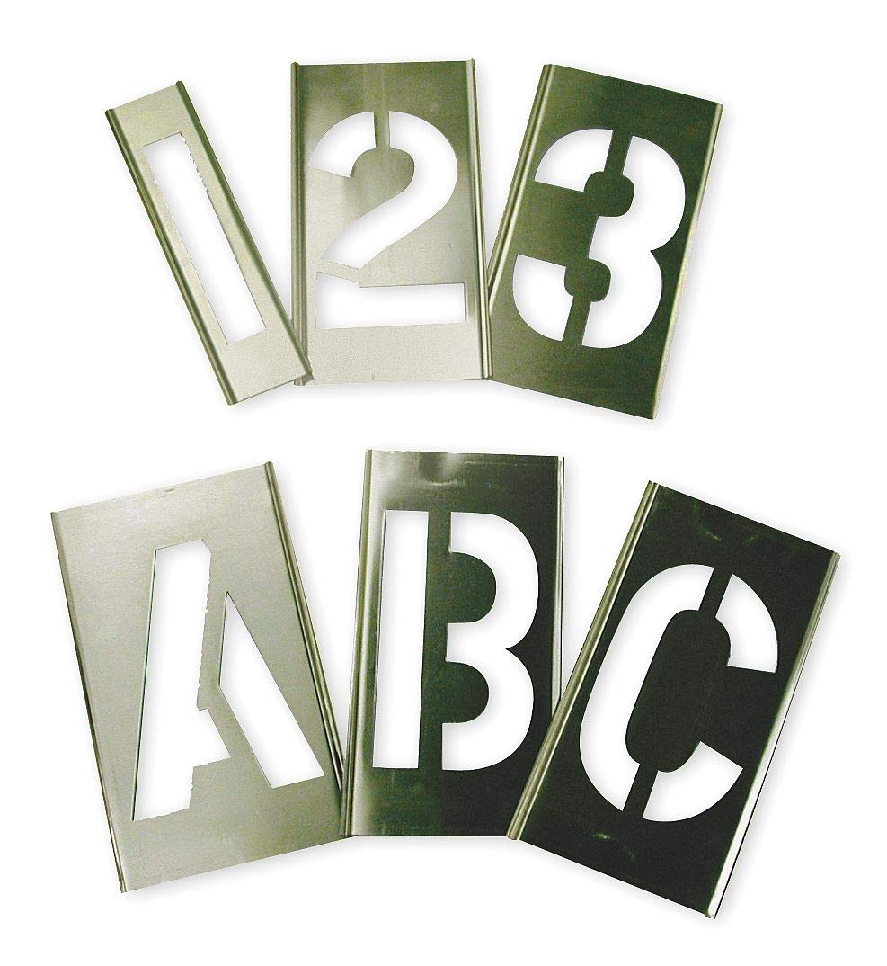 Interlocking Stencil, Letters and Numbers, 3'', Brass, 1 EA - 6A232 by Top Brand (Image #1)