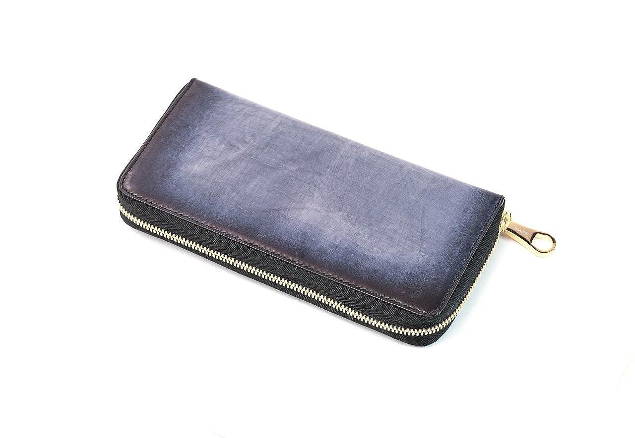 [チマブエ]ラウンドファスナー長財布 手染カーフ B07BYZ4JSFブラック