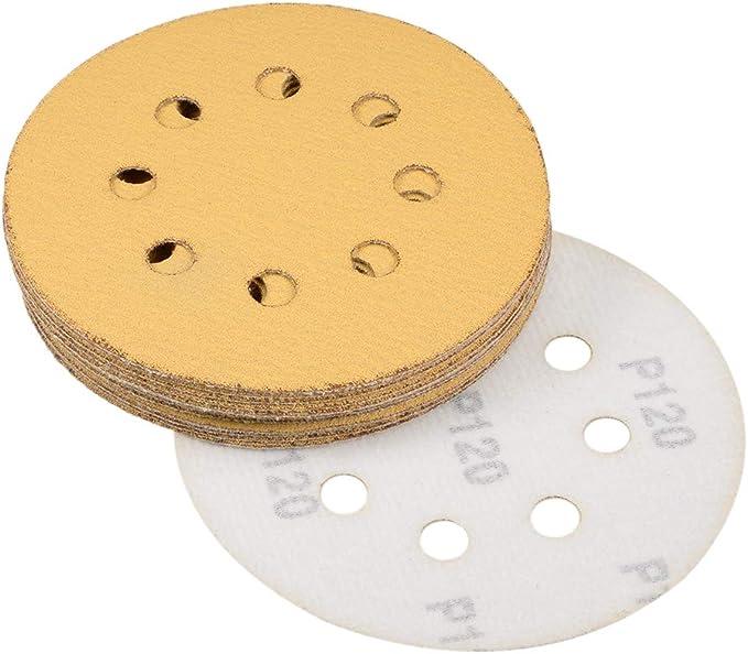 15,2 cm, grano 100, 6 agujeros, gancho y bucle Sourcingmap Discos de lija de papel de lija para lijadora orbital aleatoria