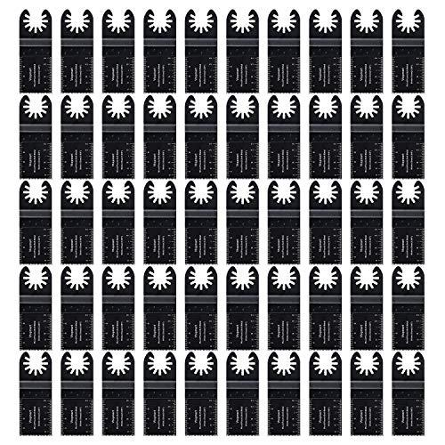 Vtopmart 50 Wood Oscillating Multitool Quick Release Saw Blades Compatible with Fein Multimaster Porter Cable Black & Decker Bosch Dremel Craftsman Ridgid Ryobi Makita Milwaukee Dewalt Rockwell (Oscillator Tool Blades)