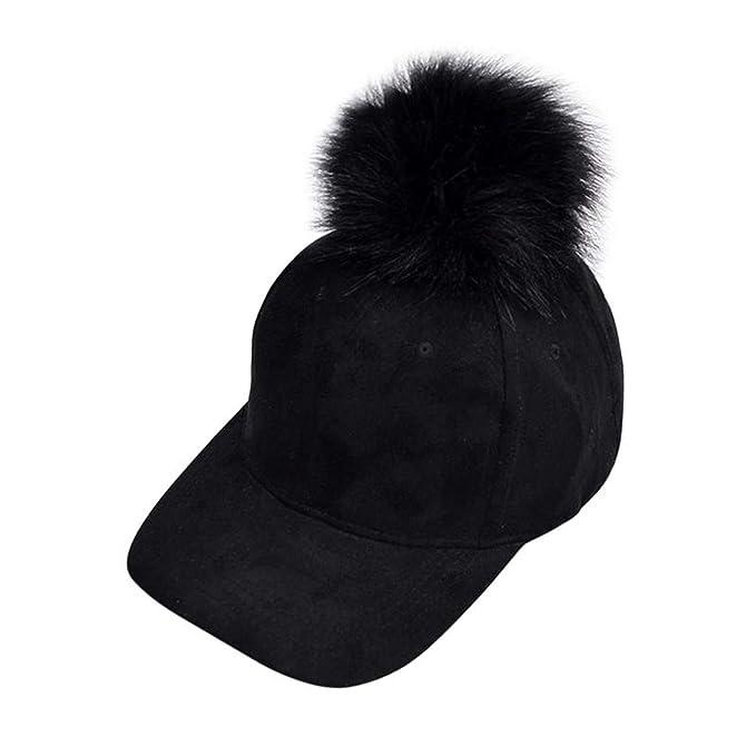 4f105c85a49 Women Unisex Fur Pompom Autumn Winter Cap Lady Buckskin Cute Fur Ball  Eye-catching Suede