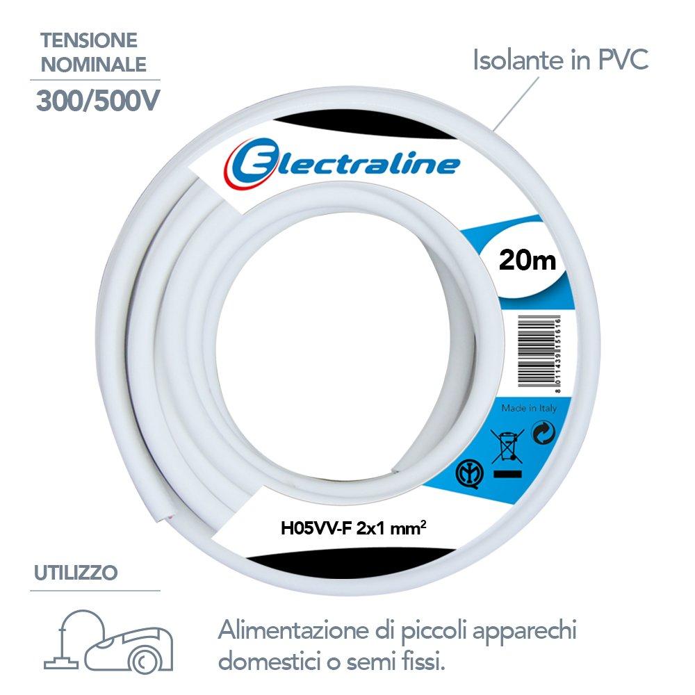 Blanco Electraline 11421 Secci/ón 2G1 mm Cable para Extension Electrica H05VV-F 10 mt