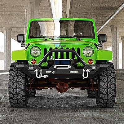 Jeep Wrangler JK Rock Crawler Front Bumper with 4x LED Lights & Winch Plate Black Textured Jeep JK Bumper