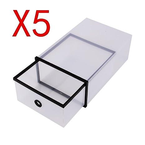 Paquete con 5 Unidades de Cajas de Zapatos Transparente Plegable, Cajas para Almacenamiento de Zapatos