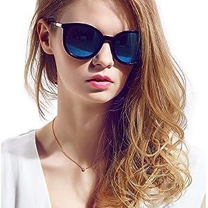 Classic Mirror Round Sunglasses - Diamond Candy 2018 New Design Polarized Fashion Sunglasses For Women, UV400,Blue
