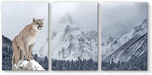 Office Wall Decor Snow leopard in the mountains Oil Painting Printed On Canvas