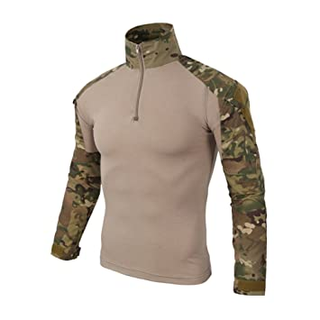 Militar T/áctica Camisa Hombre Al Aire Libre Ejercito Camuflaje BDU Delgado Ajuste Camisas Manga Larga Cuello con Cremallera Combate Camiseta para Caza Paintball Airsoft