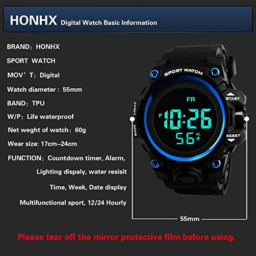 ... Digital Watches 5ATM Water Resistant Outdoor Watch on Sale on Clearance Military Quartz Watchs with Rubber StrapSilicone Case Relojes De Hombre: Watches