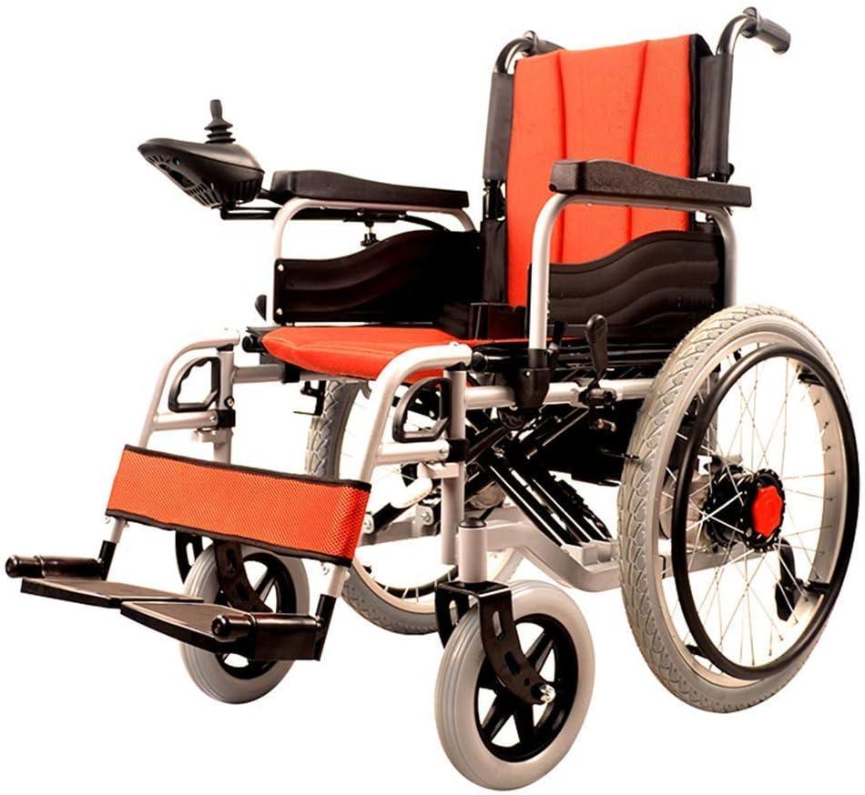 MJY Silla de ruedas eléctrica plegable de doble función ligera (batería de iones de litio), conducir con energía eléctrica o usar como silla de ruedas manual J h