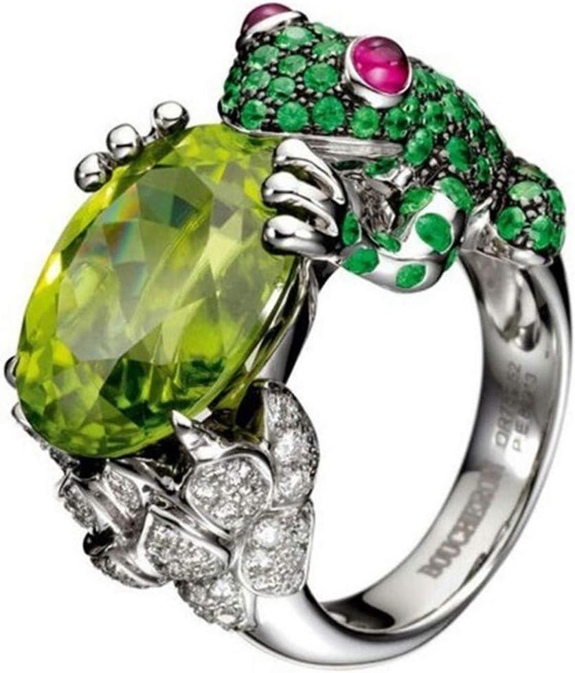 WEILYDF Frog Ring Crystal Rhinestone Inlaid Ring Classic Animal Design Faux Gemstone Ring Unisex Ring Punk Retro Wedding Ring