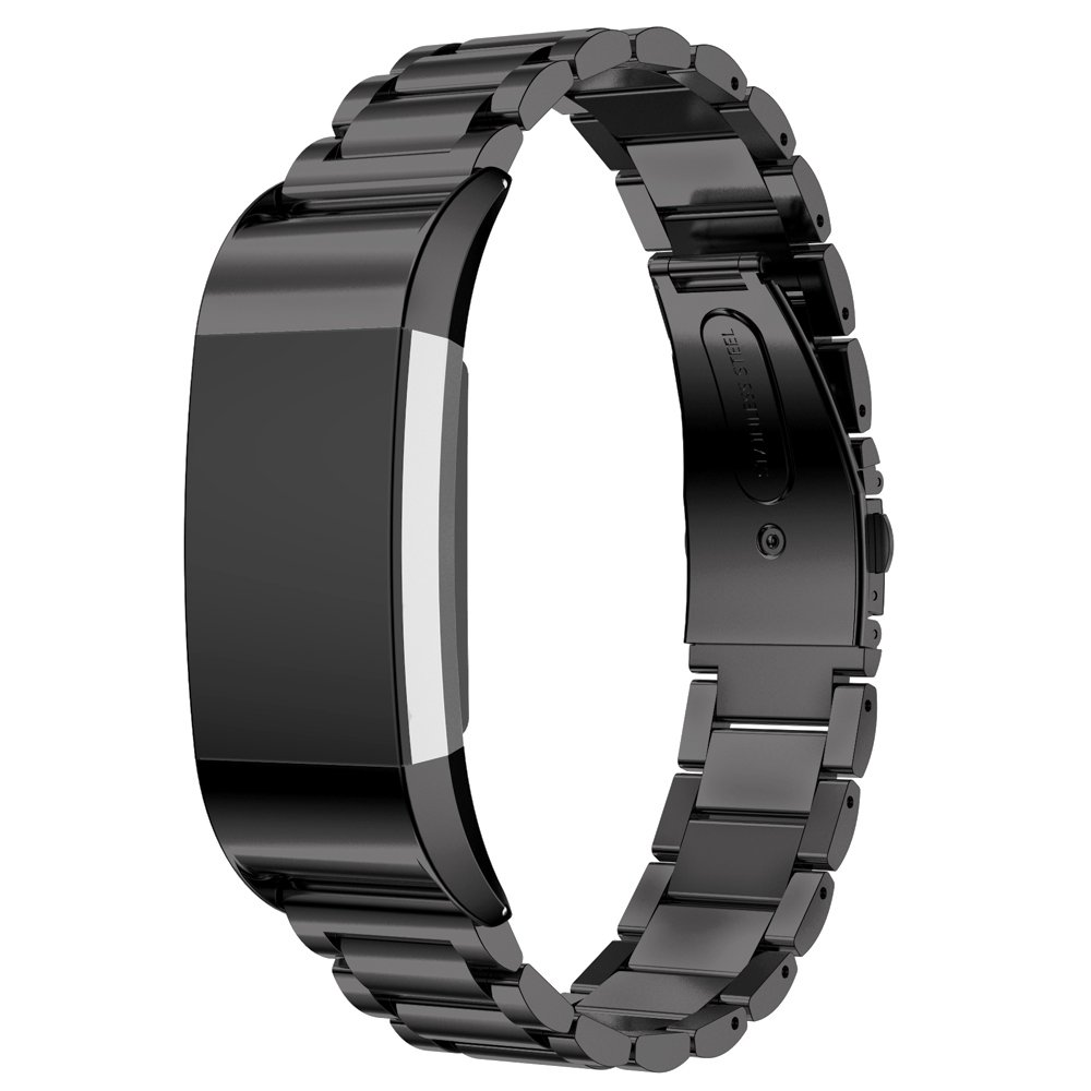 Maxjoy for Fitbit Charge 2 Bands, Charge2 Metal Strap Stainless Steel Bracelet Straps Replacement Accessory Smart Watch Band Loop Small Large Wristband for Fitbit Charge 2 Tracker, Men/Women (Black)