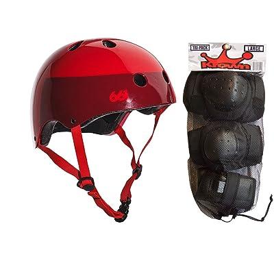 SixSixOne 661 Dirt Lid Skateboard BMX Youth Helmet Red S/M Knee Elbow Wrist Pads : Sports & Outdoors