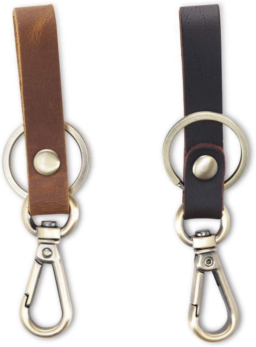 Aileder Leather Keychain Car Keyring Belt Key Holder Crazy Horse Leather Strap Valet Key Chain Key Ring Key Fob Lanyard Brown