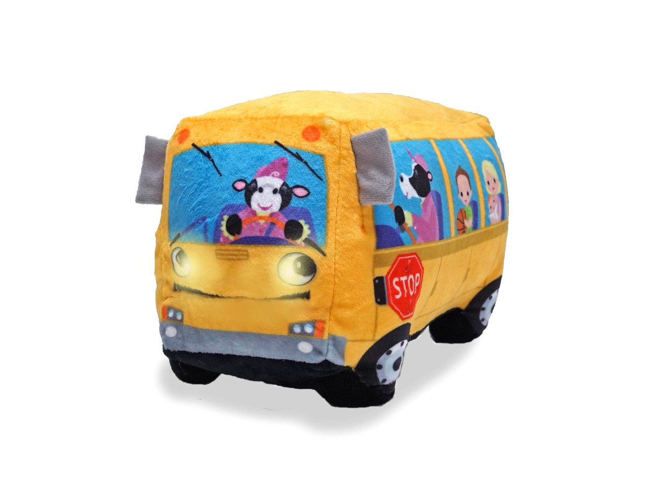 Cuddle Barn Animated Toy Wheelie Singing School Bus Sings Wheels on The Bus