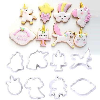 Molde de plástico de unicornio para galletas, molde de azúcar, fondant para decoración de