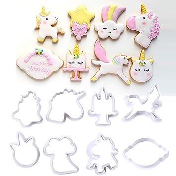 Molde de galletas de plástico unicornio Molde de azúcar para hornear Fondant Cake Decorating Tool para Navidad 8pcs / Set: Amazon.es: Hogar