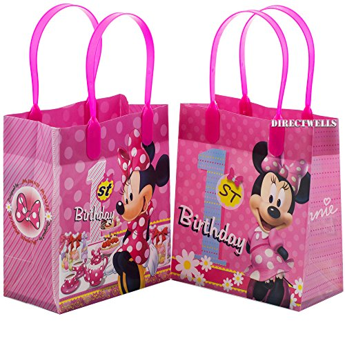 (Disney Minnie Mouse 1st Birthday Authentic Licensed 12 Reusable Small Goodie Bags)