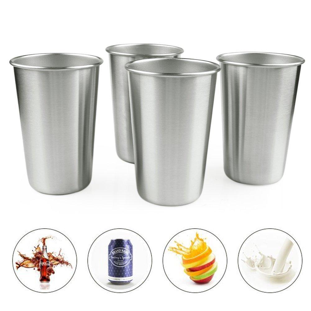 4ピースステンレススチールカップ、メタルDrinking Glasses tumbler-16ozファミリCup Great for Kids、世帯使用キャンプ、&ピクニック B075YT79J9