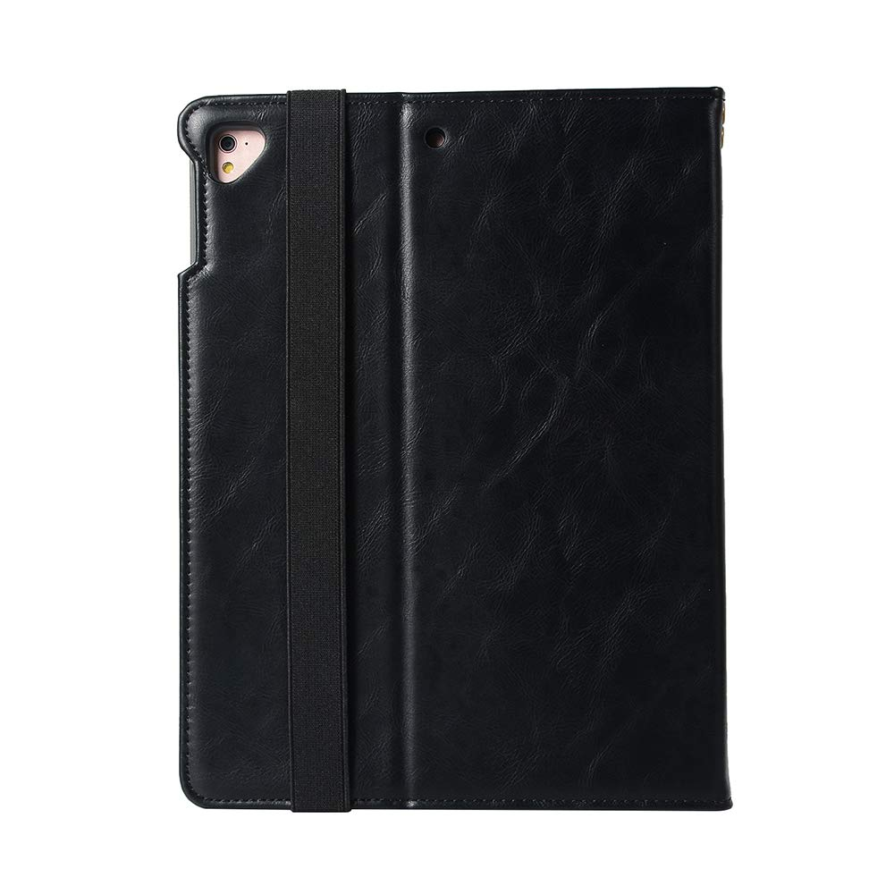 Black New iPad 9.7 Case 2018//2017,iPad Pro 9.7 2016 Case,iPad Air 2 Case,iPad Air Case Leather Stand Folio Wallet Case Flip Cover with Multiple Viewing Angles,Card Holder,Auto Sleep//Wake Apple Pencil Holder,Hand Holder Strap