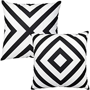 """Black and White Stripe Throw Pillow Covers Farmhouse Soft Velvet Cushion Covers Pack of 2 Decorative Pillowcase, Home Decor Decorations for Sofa Couch Bed Chair 18""""x18"""""""