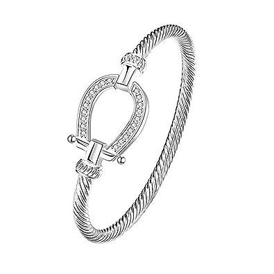 86ae4986f7de Amante de la pulsera de joyería suerte herradura caballo de cristal y plata  pulseras encanto para las niñas Mujeres  Amazon.es  Joyería