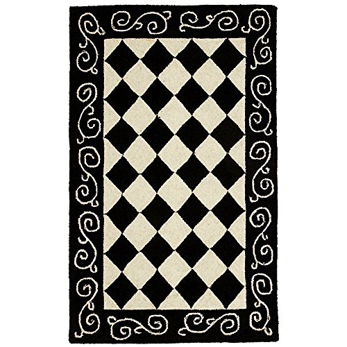 Safavieh Chelsea Collection HK711A Hand-Hooked Black and Ivory Premium Wool Area Rug (2'6