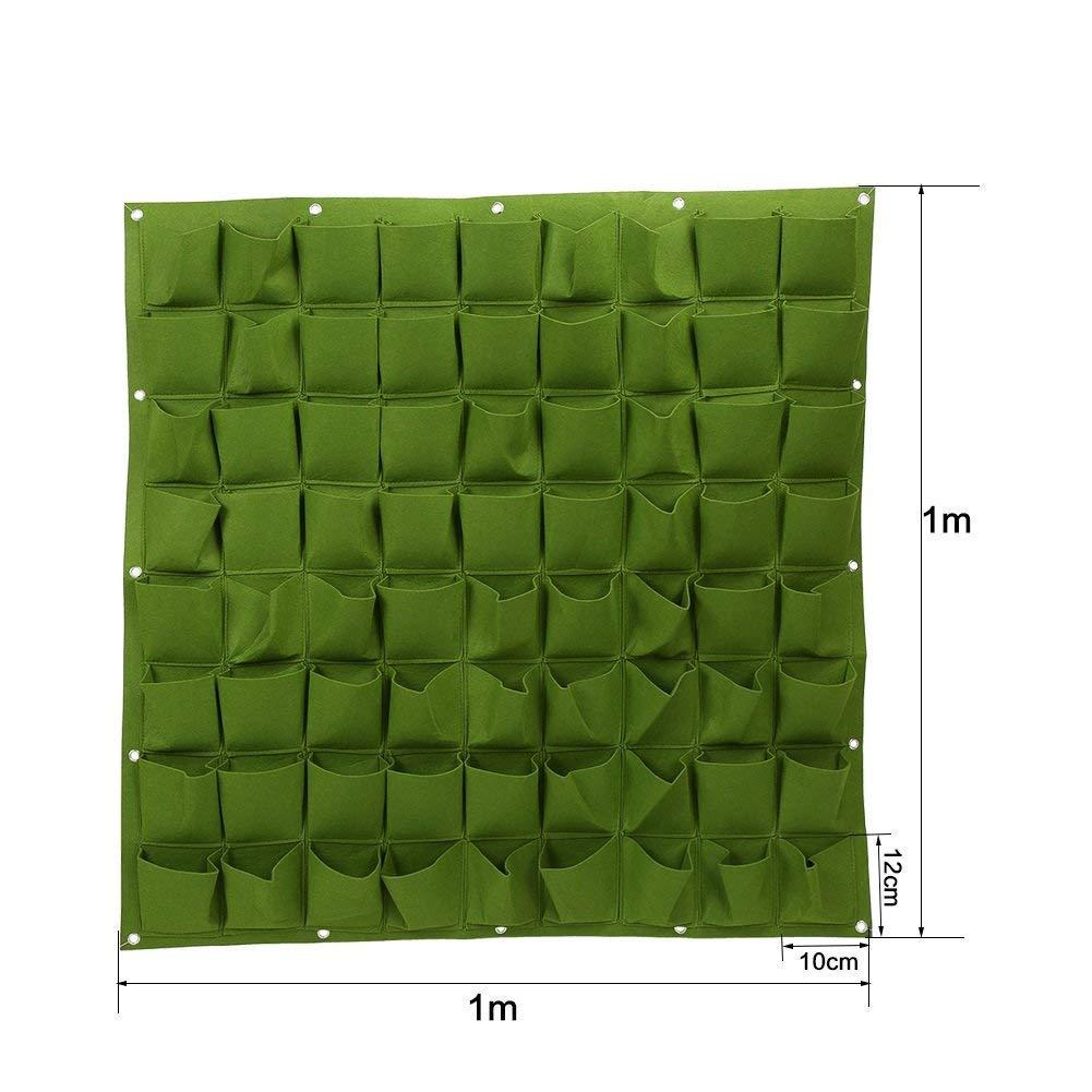 72 bolsillos bolsas de plantación colgante de pared ecológico de jardinería maceta interior y exterior para vertical bolsas de crecimiento., ...