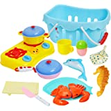 ToyerBee Kids Play Food & Pretend Play Cutting Kitchen Toys-Outdoor Sand Toys Basket-Educational Preschool Toy Assortment-sea Creature Toys-Birthday Gift Girls Boys