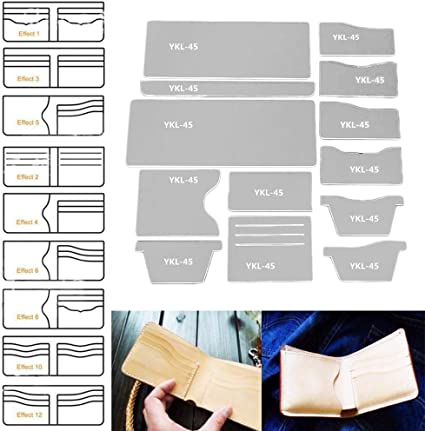 13pcs//set Acrylic Wallet Leather Template Model Handwork Craft Pattern Stencil