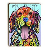 Artehouse 0004-8589-32 ''Dog is Love - Planked Wood'' Wall Decor by Art Licensing - Dean Russo, 31'' x 41'' x 1''