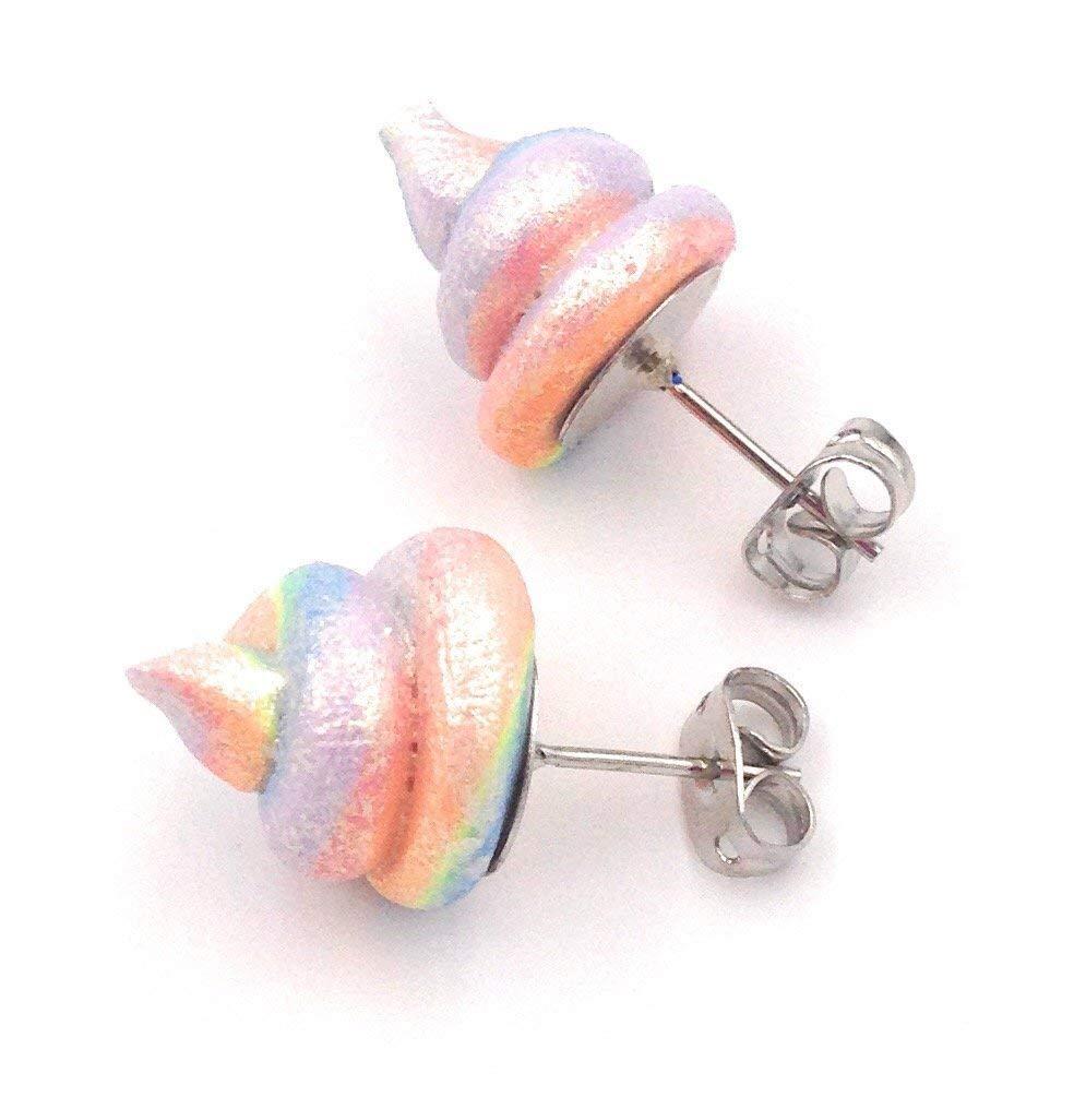 Unicorn Poop Earrings Rainbow Shimmer Shine 18k Gold Plated Fashion Studs 3