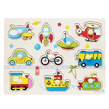 4a4466ab847f BOBORA Puzzles Infantiles de Madera Juegos Juguetes Educativos de Aprendizaje  Juguete Rompecabezas de Madera para Niños Pequeños de 1 Año (Transporte):  ...