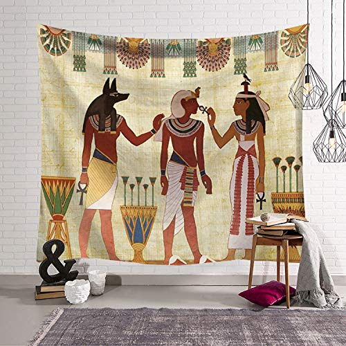 Ancient Egyptian Cloth - QCWN Egyptian Tapestry Wall Hanging Egyptian Ancient Religion Historical Tapestry Backdrop Cloth Egypt Egyptian Character for Home Dorm Living Room Decor. Multi 59x51Inc