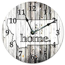 MONTANA STATE HOME CLOCK Black and White Rustic Clock - Large 10.5 Wall Clock