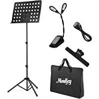 Moukey Sheet Music Stand MMS-2 Metal Adjustable Portable Music Stand With Stand Light Carrying Bag Black
