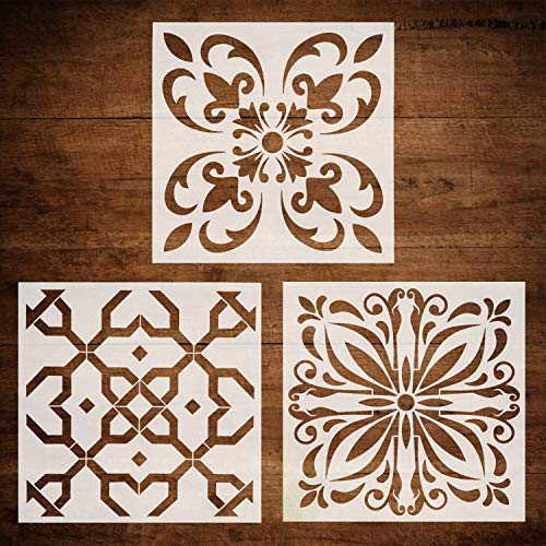 CODOHI 3 Packs Wall Tiles Stencils(12x12 Inch) Laser Cut Resuable Stencils for Floor Furniture Painting DIY Art Home Decor- Moroccan Patterns