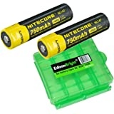 2 Pack Nitecore NL147 14500 Li-Ion Battery with EdisonBright BBX4 battery box