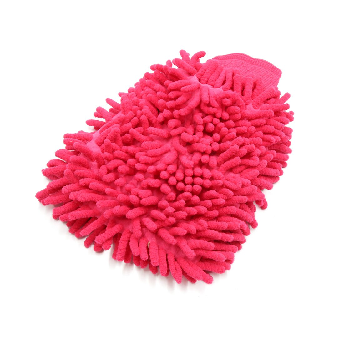 Sourcingmap Rose Red Dual Sided Microfiber Chenille Mitt Car Home Washing Cleaning Glove a18020700ux0011