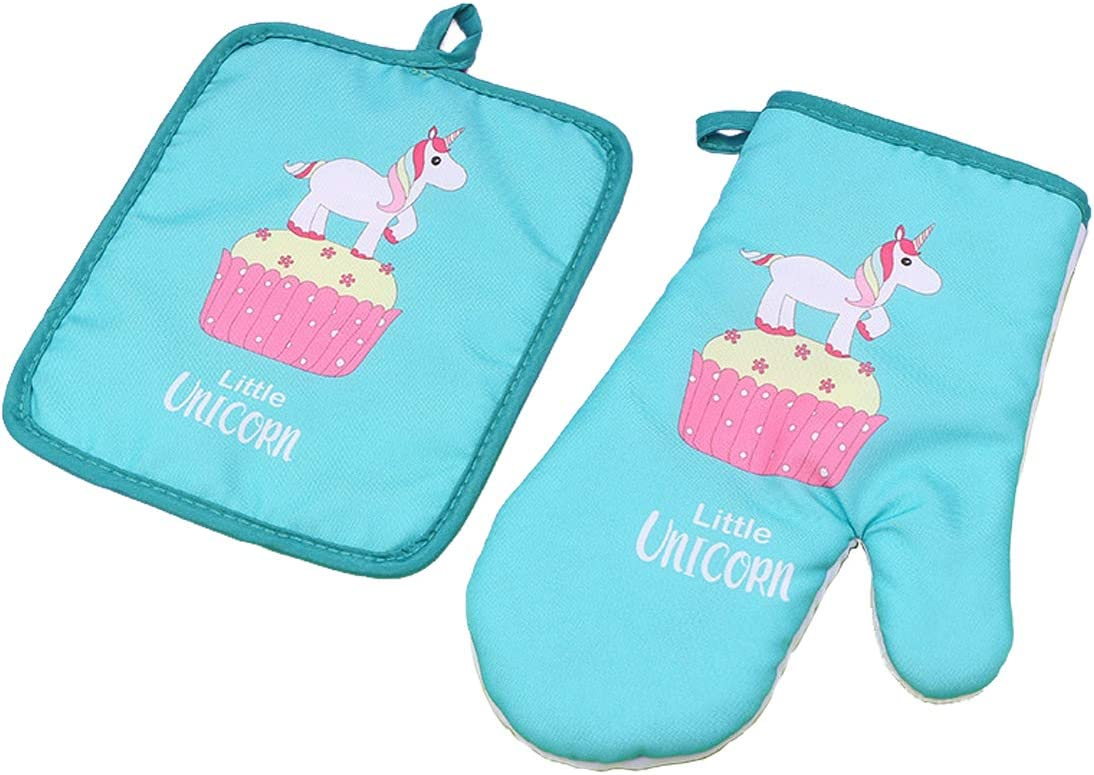 Oven Mitt Set, Unicorn Oven Mitts and Pot Holder Pack of 2 Heat Resistant Non-Slip Durable for BBQ Cooking Baking Grilling Barbecue Microwave Oven Gloves, Perfect Housewarming Gift   Oven Mitts Blue