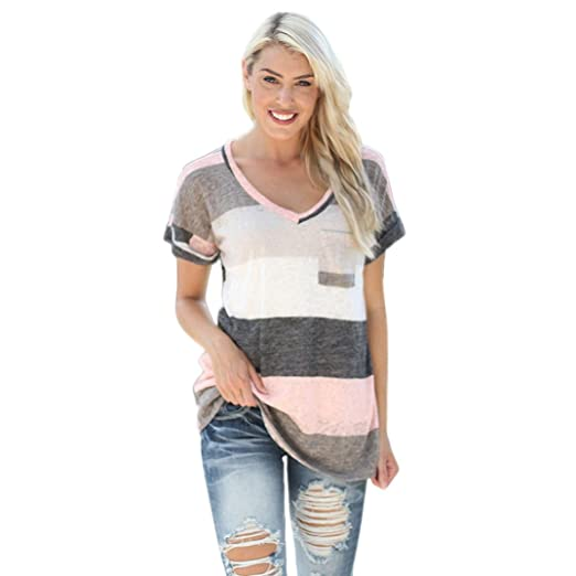 DondPO Womens Short Sleeve T-Shirt Fashion Stripe Blouse Ladies Casual T Shirt Round Neck