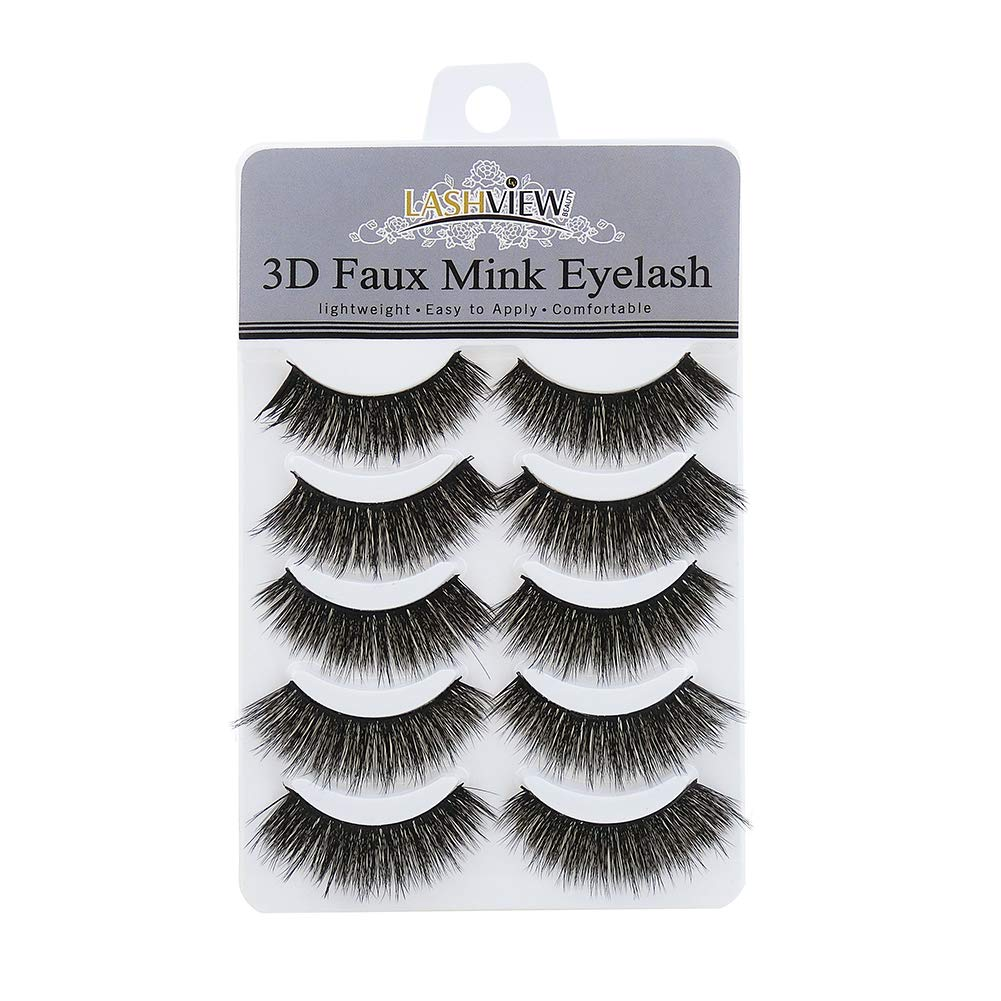 LASHVIEW Lashes 5 Pairs Faux Mink Eyelash Think Eyelashes 3D Mink Eyelashes Soft False Eyelashes Reusable Handmade Fake Eyelashes Xizi