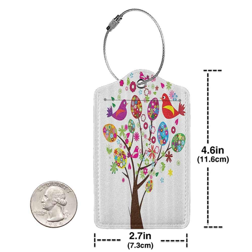 Personalized luggage tag Flying Birds Decor Collection Ornate Easter Tree with Floral Eggs Love Birds Butterflies Joy Modern Artprint Home Easy to carry Multi W2.7 x L4.6