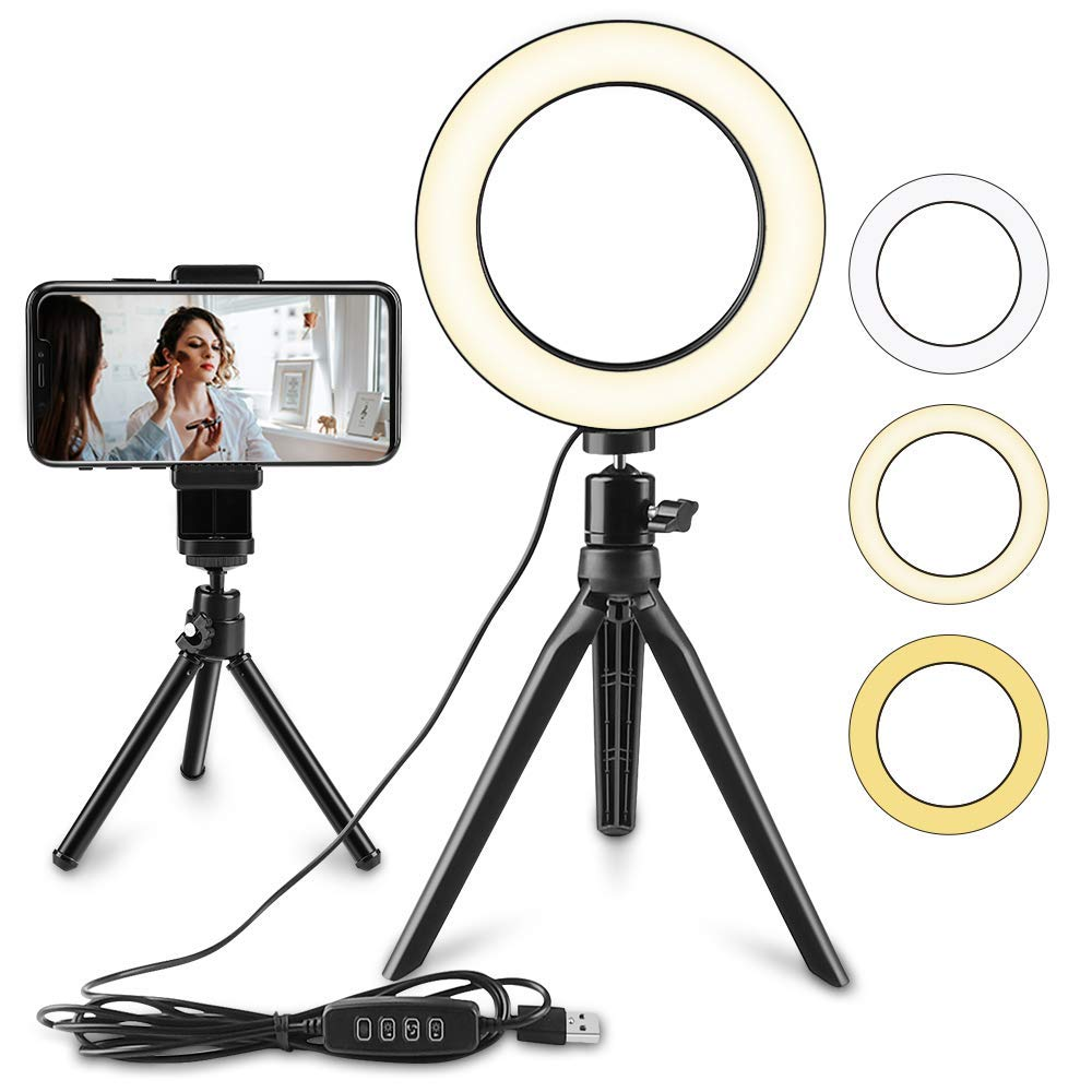 LED Selfie Ring Light,6 inch LED Circle Light,LED Video Camera Light,USB LED Desktop Lamp with Stand,Dimmable LED Fill Light,Makeup Beauty Light for YouTube/Live Stream/Photography/Portrait Lighting