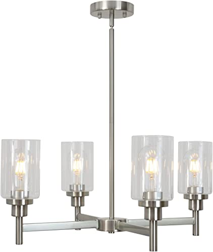 4 Light VINLUZ Modern Chandelier Brushed Nickel Pendant Lighting Clear Glass Shades Contemporary Ceiling Light Fixtures for Dining Room Kitchen Living Room