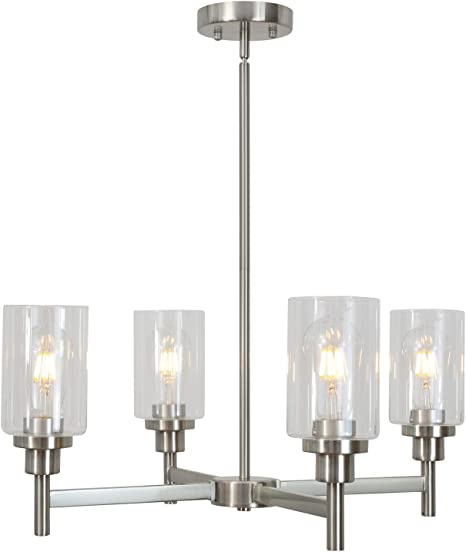 4 light vinluz modern chandelier brushed nickel pendant lighting clear glass shades contemporary ceiling light fixtures for dining room kitchen living