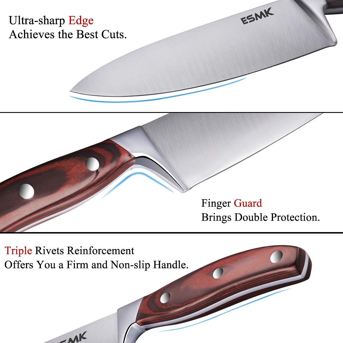 Knife Set, 15-Piece Kitchen Knife Set with Block Wooden, Manual Sharpening for Chef Knife Block Set, German Stainless Steel, ESMK (15 PCs Knife Block Set) by ESMK (Image #5)
