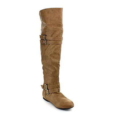 26297480876 Top Moda Womens Night-79 Over The Knee Round Toe Buckle Riding Flat Boots