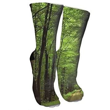 7440a59f3 Image Unavailable. Image not available for. Color  Ysikfk Women s Colorful  Crew Socks for Deep in The Forest Thick Green ...